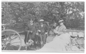 John Evans my grandfather with 2 others on Cardiff Rd with the horse & cart.pop is on the extreme left.the gentleman on the right we think is Mr Lambourne,who i think was a coachman at Tredegar House,he lived next to nan & pop
